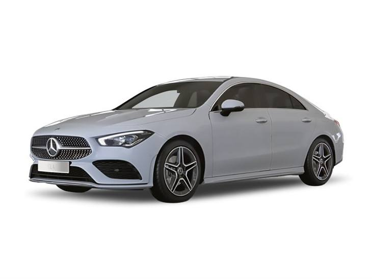 white mercedes-benz cla amg line on white background available to car lease