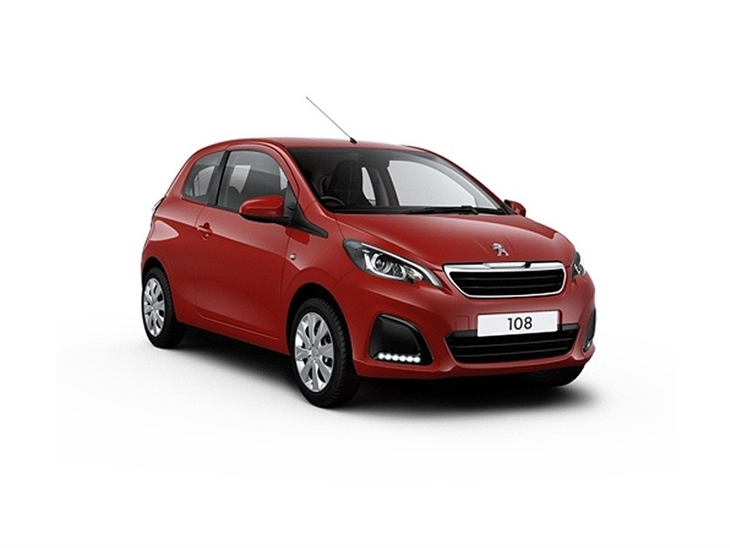 red peugeot 108 active 3 door car lease on white background