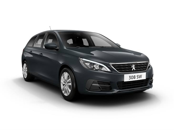 black peugeot 308 sw active car lease on white background