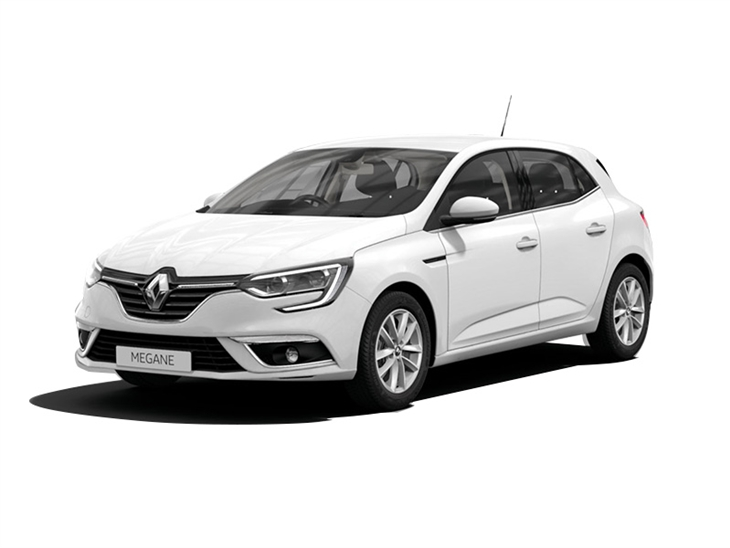 white renault megane play car lease on white background